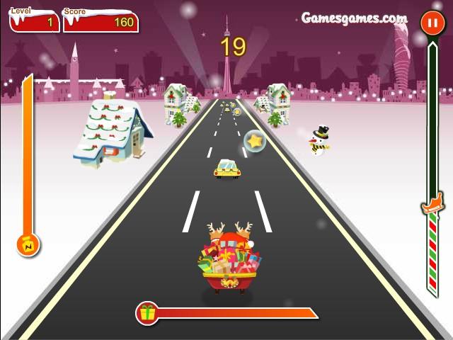 crazy santa racer funny car games